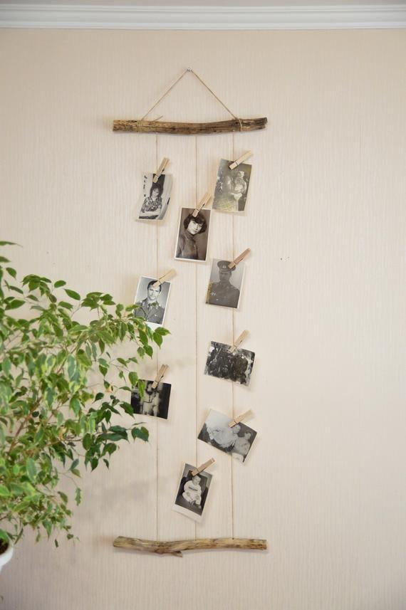 Boho photo display, driftwood wall decor, boho bedroom decor, baby shower gift, nursery wall decor