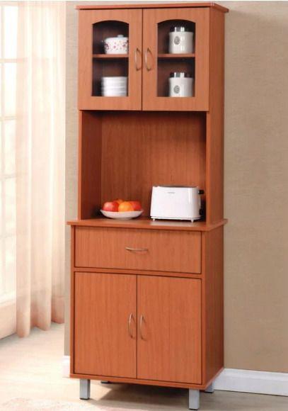 KITCHEN STORAGE CABINET Microwave Stand Drawer Organizer Cupboard Brown