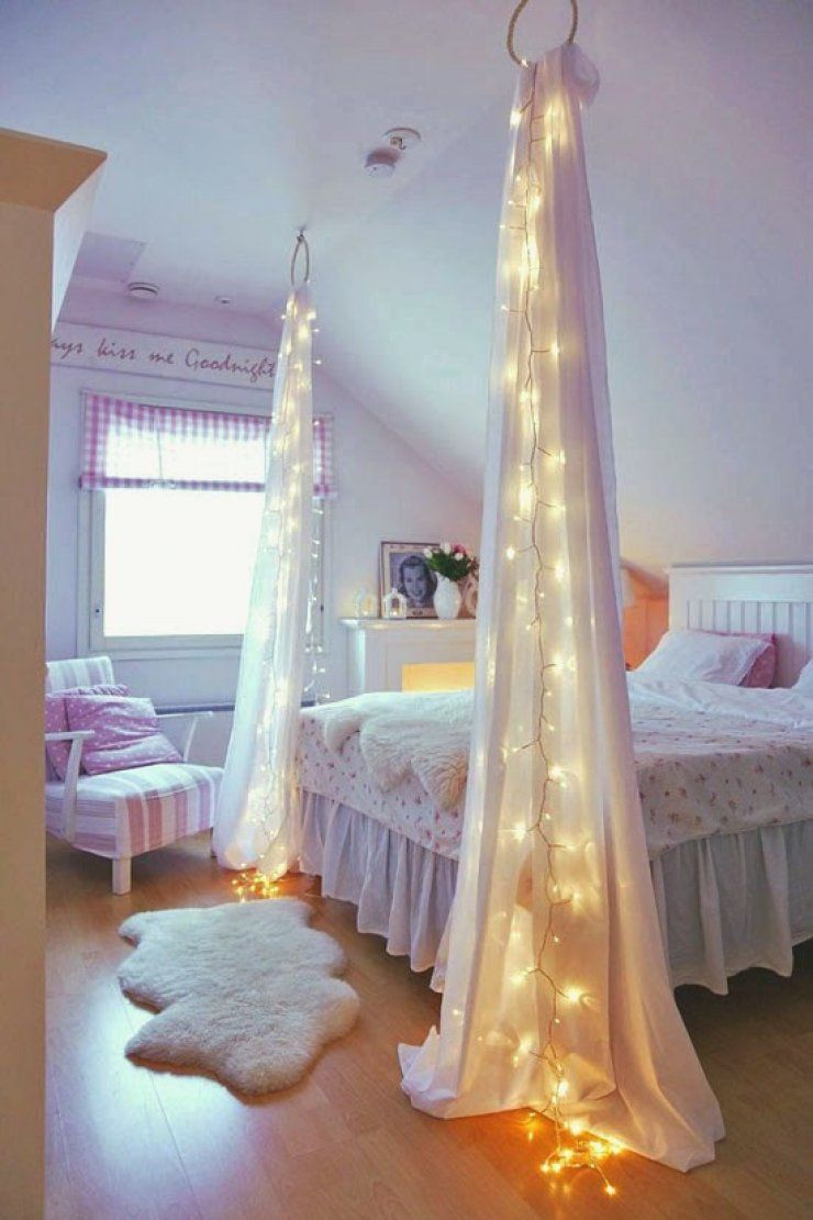 fairy lights with curtains in a girly room | Smart Ideas ...