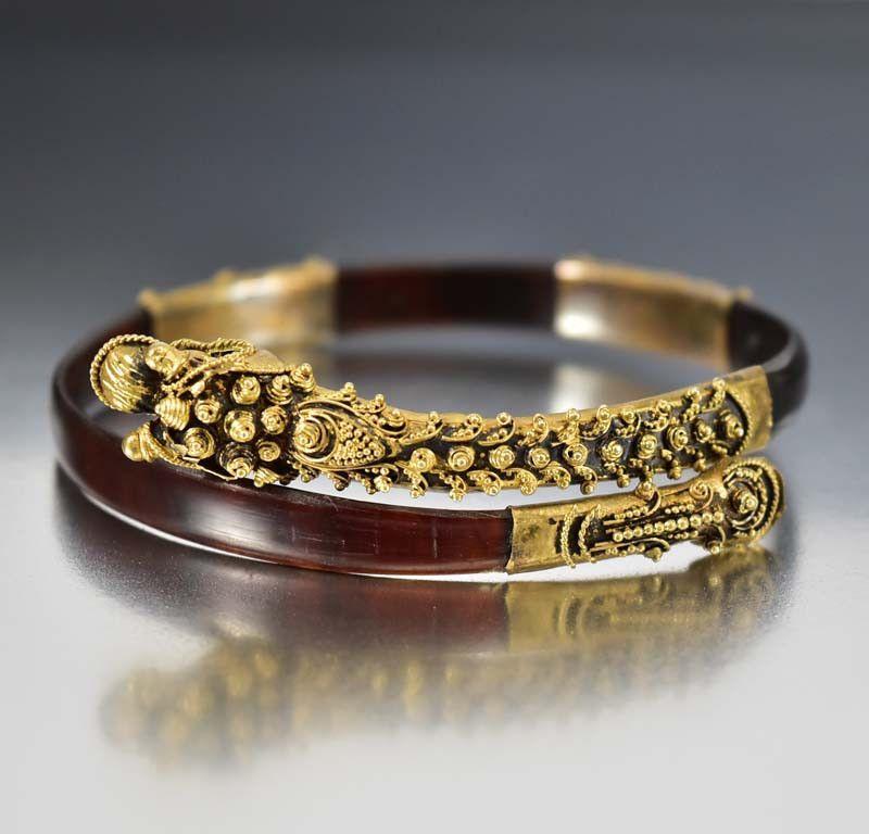 Antique Victorian Dragon Tortoise Shell Wrap Bracelet
