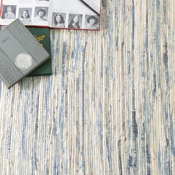Denim Rag Striped Hand Woven Flatweave Cotton White Blue Area Rug In 2020 Denim Rag Rugs Rugs On Carpet Cotton Rag Rug