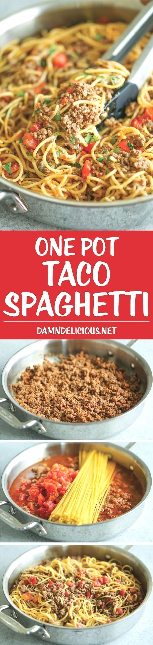 One Pot Taco Spaghetti  All your favorite flavors of tacos in spaghetti form  made in ONE PAN