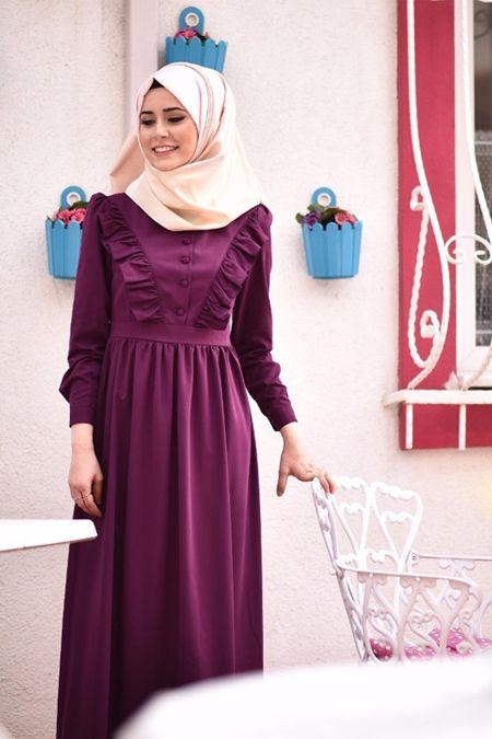 Morfistan Firfirli Tesettur Elbise Online Satis Indirimli Satin Al Elbise Modelleri Elbise Islami Giyim