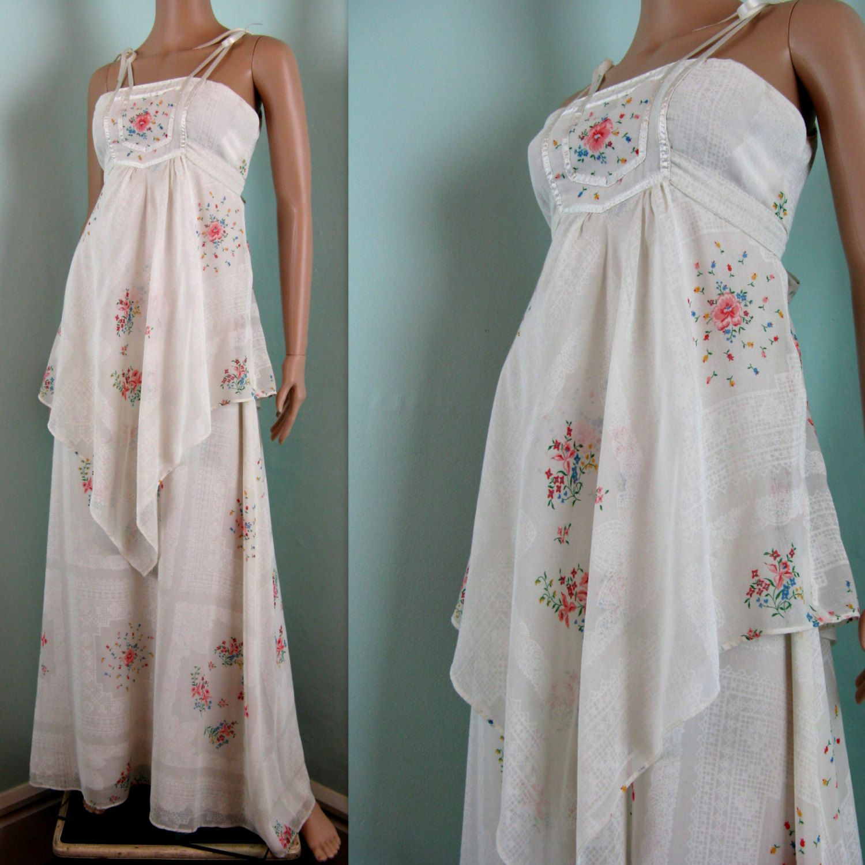 Vintage 1970s Dress PETITE FLEURS 70s Boho by
