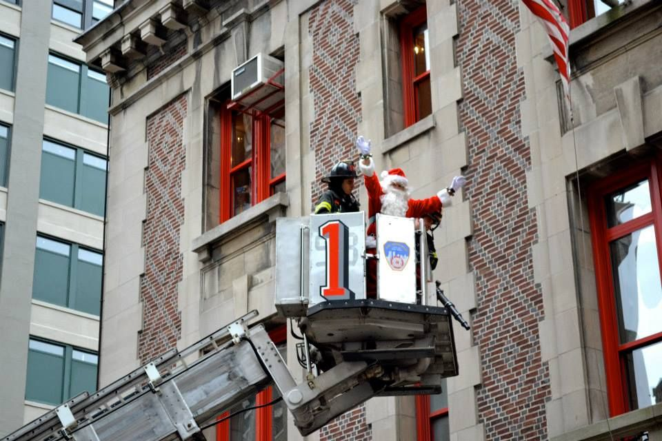 Members from FDNY Tower Ladder 1 rescued santa from the