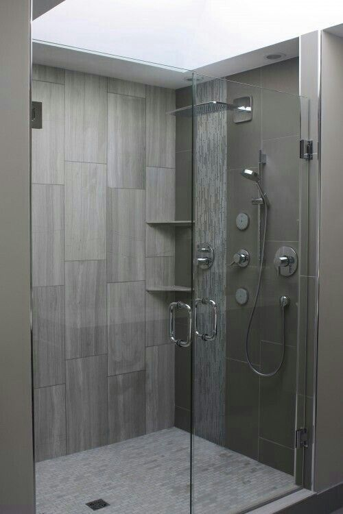 Grey Big Tiles Look Better In Life Than The Pics They Also Look Good With A River Rock Floor Bathrooms Remodel Bathroom Shower Tile Gray Shower Tile