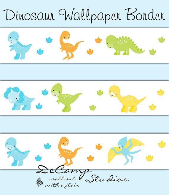 Dinosaur Wallpaper Border For Baby Girl Or Boy Nursery And Children S Dino Room Decor Di Nursery Wallpaper Border Dinosaur Wallpaper Border Baby Nursery Decor