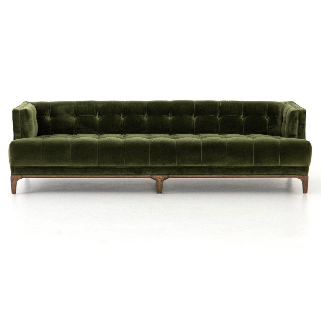 Dylan Mid Century Modern Olive Green Velvet Tufted Sofa Velvet