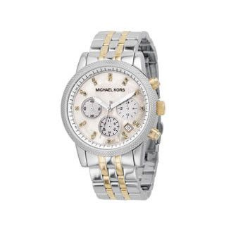 LOVE Michael Kors - Two Tone Chronographic - MK5057 – Charlotte's Inc #style http://www.charlottesinc.com/collections/watches/products/michael-kors-two-tone-chronographic-mk5057