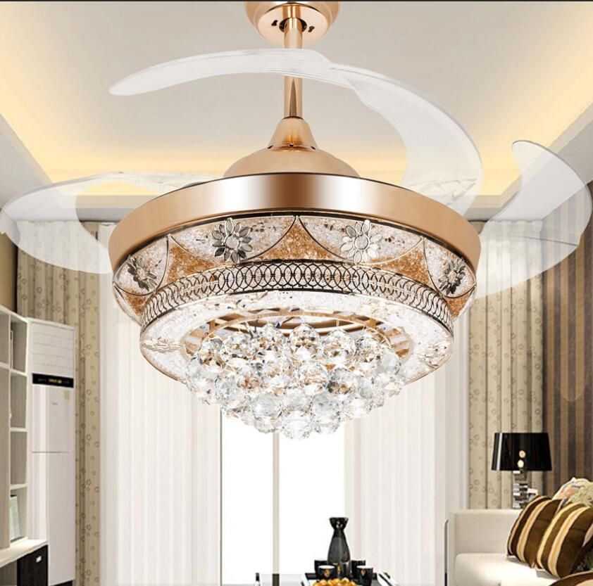Rose Gold Ceiling Fan Lights Telescopic Chandeliers Lighting Pendant Fixtures Colorled European Elegant Ceiling Fan Gold Ceiling Fan Pendant Light Fixtures