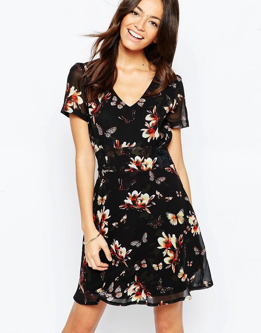 Buy it now yumi tea dress in butterfly floral print black casual
