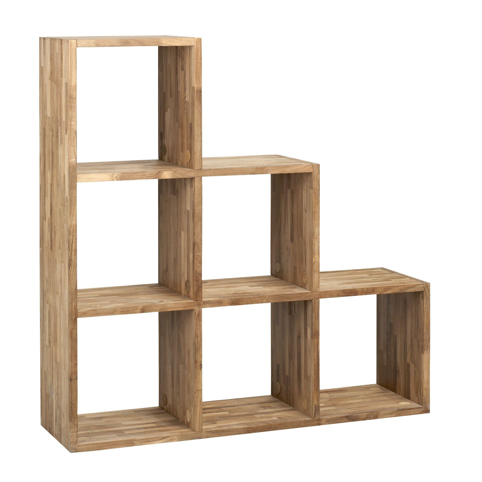 Etag re escalier 6 cases en teck trendy les for Etagere salon conforama