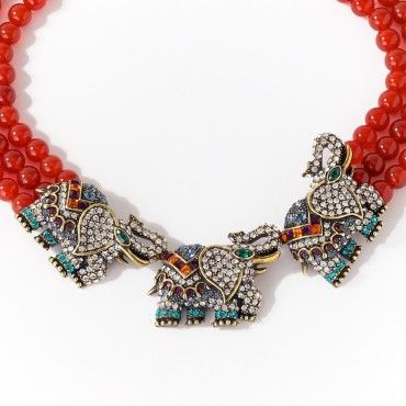 """""""Life's a Parade"""" Crystal Elephant Design Beaded 3 Row Necklace - Necklaces – Shop Jewelry 