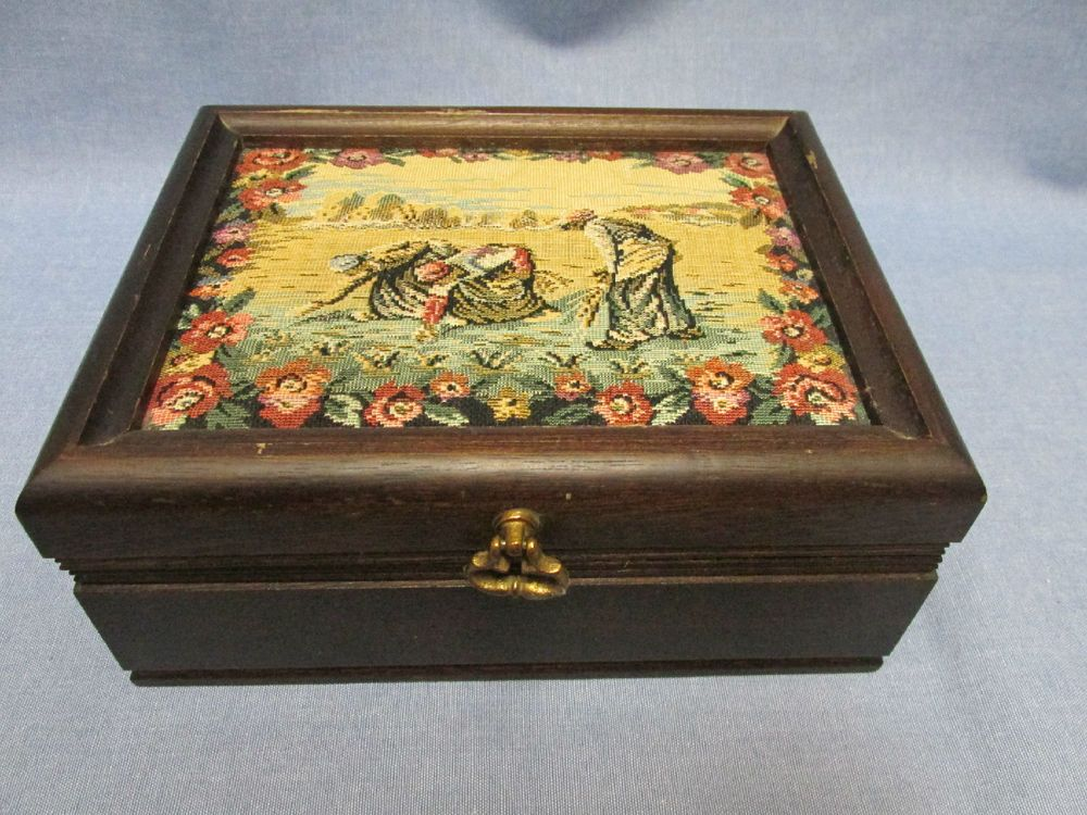 Vintage Wooden Jewelry Box Made In JapanRed Velvet Lined Pull Out