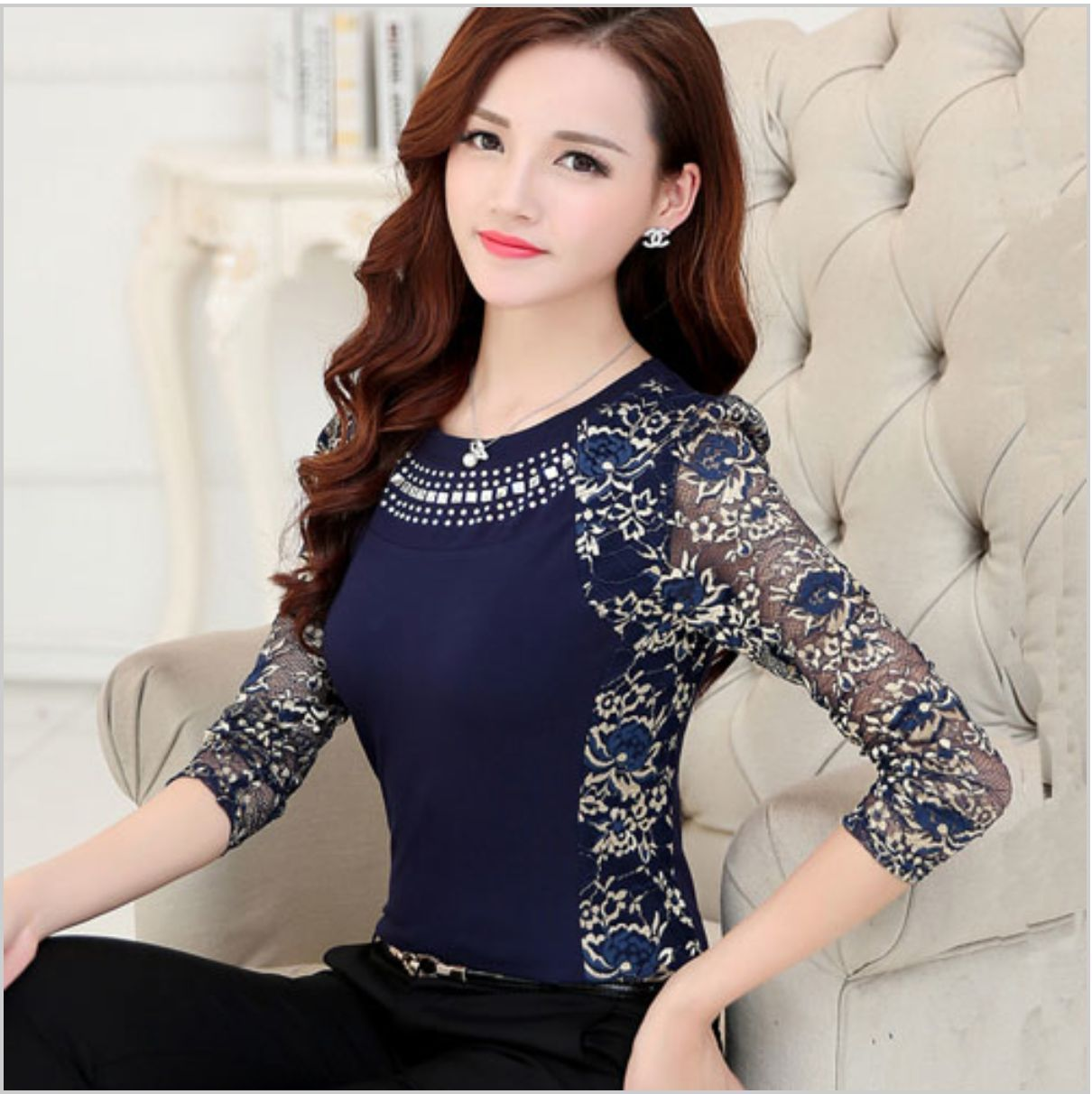 02fe72641be Fancy Lace Top Blouse Long Sleeve Crystal Mesh Sheer Work Evening Elegant  Classy