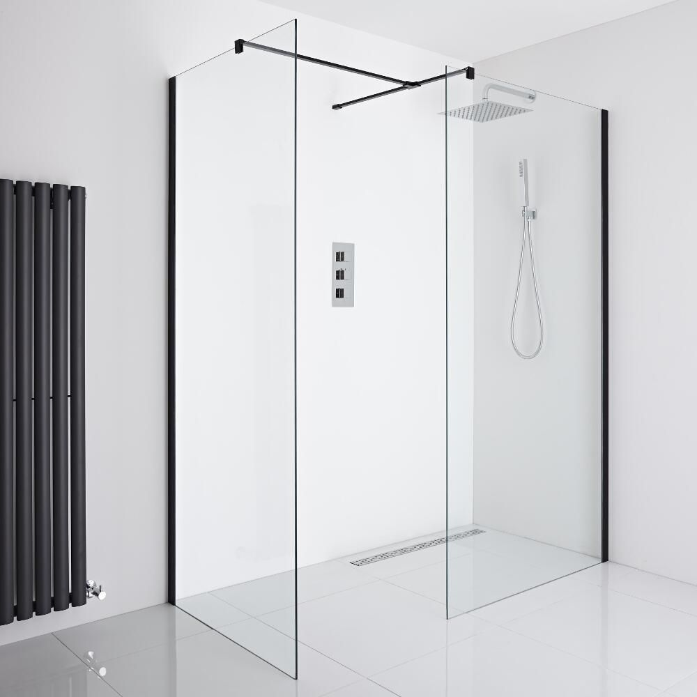 Milano Nero Corner Wet Room Shower Enclosure 1200mm X 800mm Glass Choice Of Drain Wetrooms In 2020 Wet Room Shower Shower Enclosure Wet Rooms