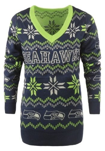 15bfbff6aa3 Women s Seattle Seahawks Light Up V-Neck Bluetooth Ugly Christmas Sweater