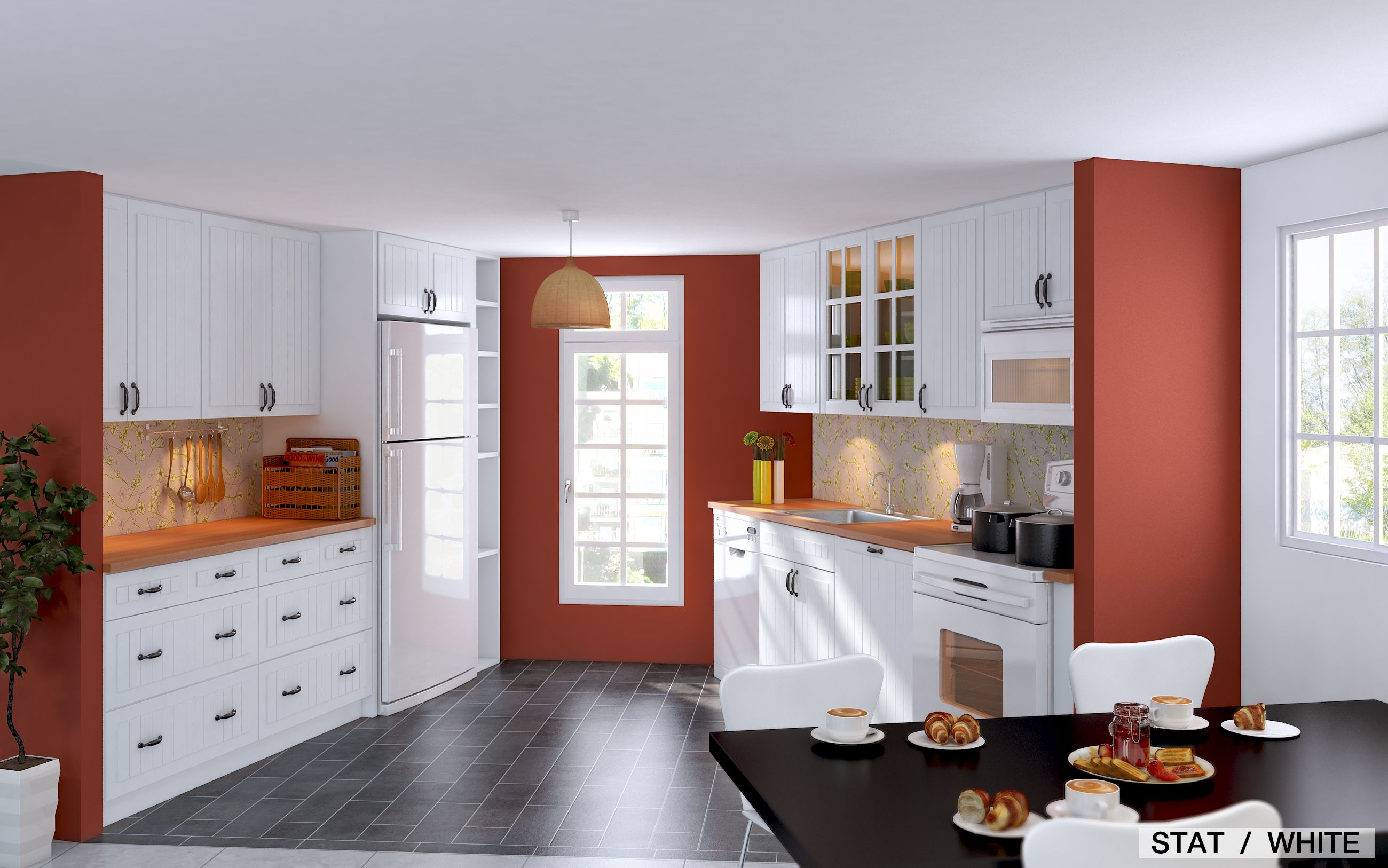 Furniture, Grey Wooden Laminate Flooring White And Red