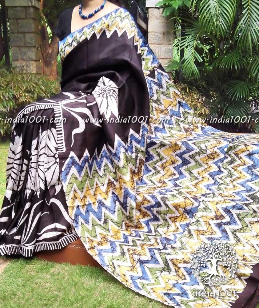 Hand Crafted Bisnupur Silk Saree With Batik Work
