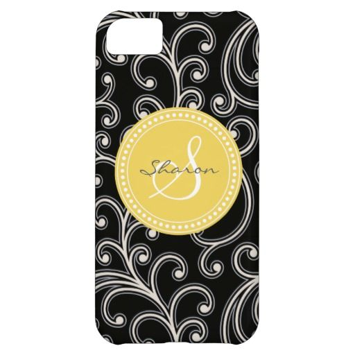 Elegant girly black floral pattern monogram iPhone 5C cases. $44.95 *Tint and beyond*