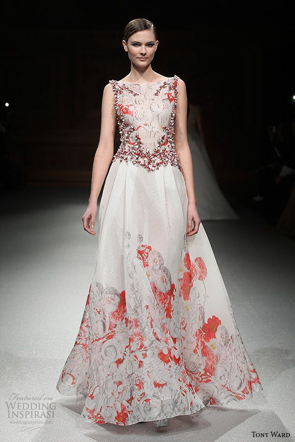 tony ward couture spring summer 2015 runway sleeveless bateau neckline white and red aline dress