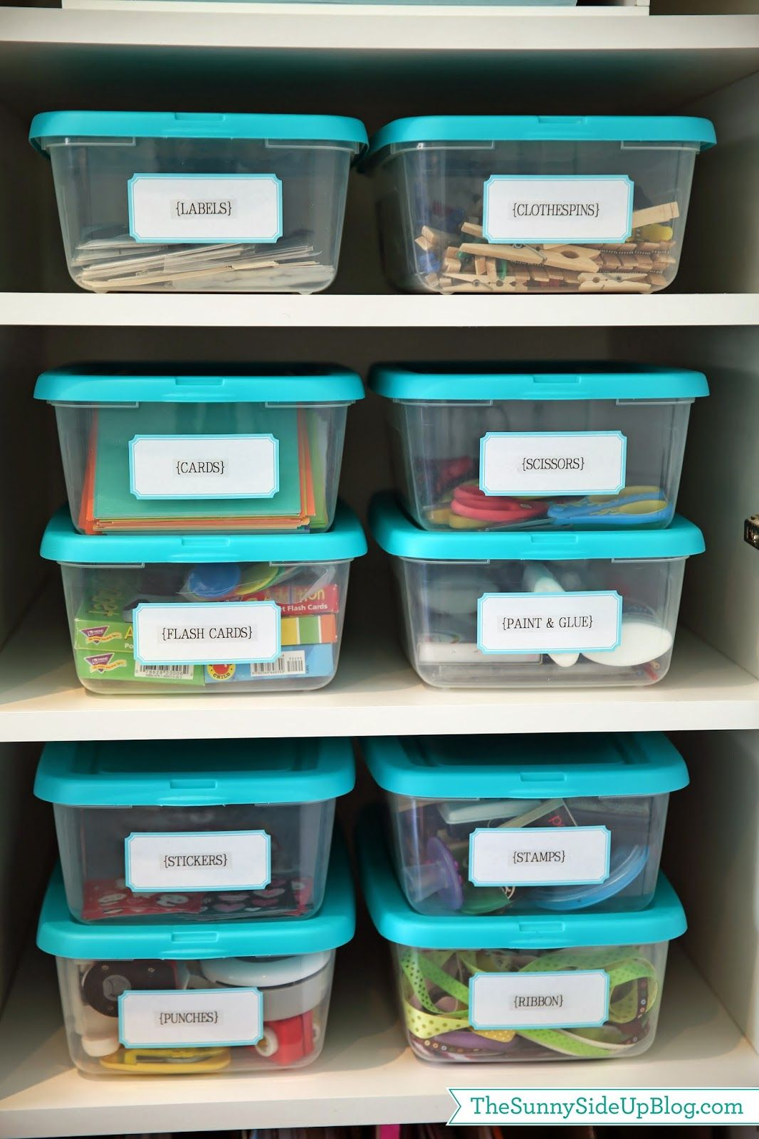 organized craft/school supplies | supply labels, school and craft