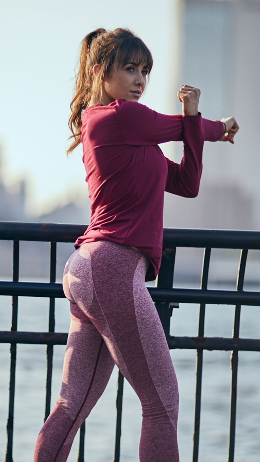 296d7c94d47f7 Courtney King wearing the Flex Legging in Beet Marl with the Apollo Long  Sleeve T-Shirt in Beet.