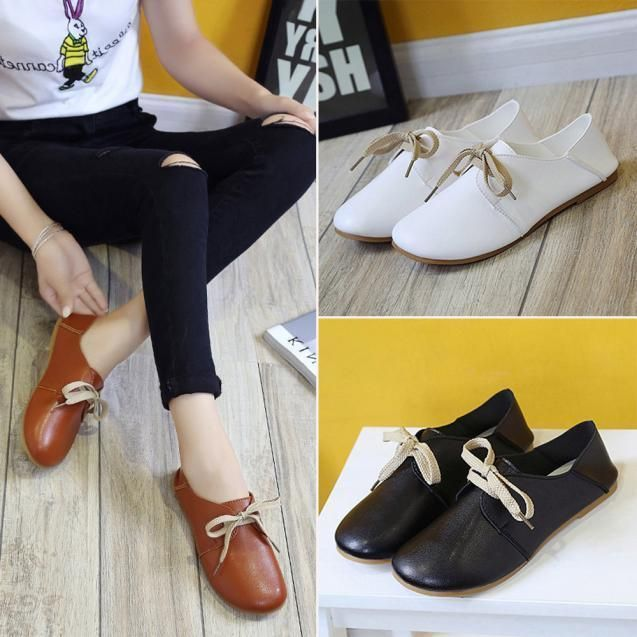 Fashion Women New Leather Flats Shoes Slip On Comfort Shoes Flat Shoes Loafers