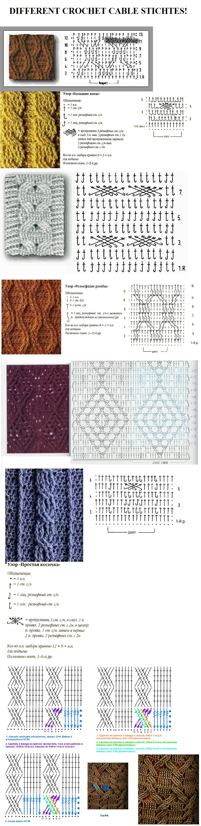 Different crochet cable stitches! - GORGEOUS!!! A | Crochet For ...