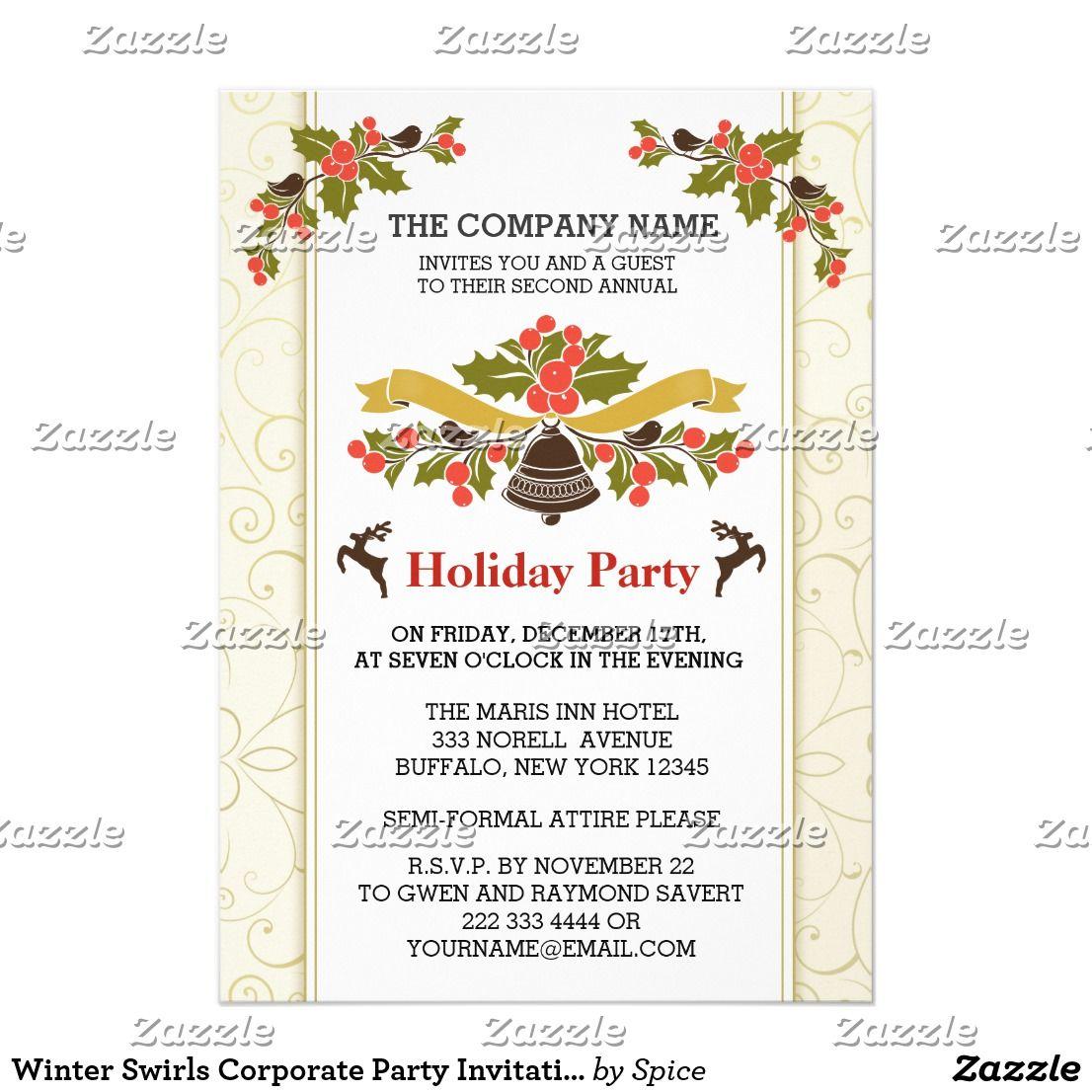 Winter Swirls Corporate Party Invitations Christmas Invitations