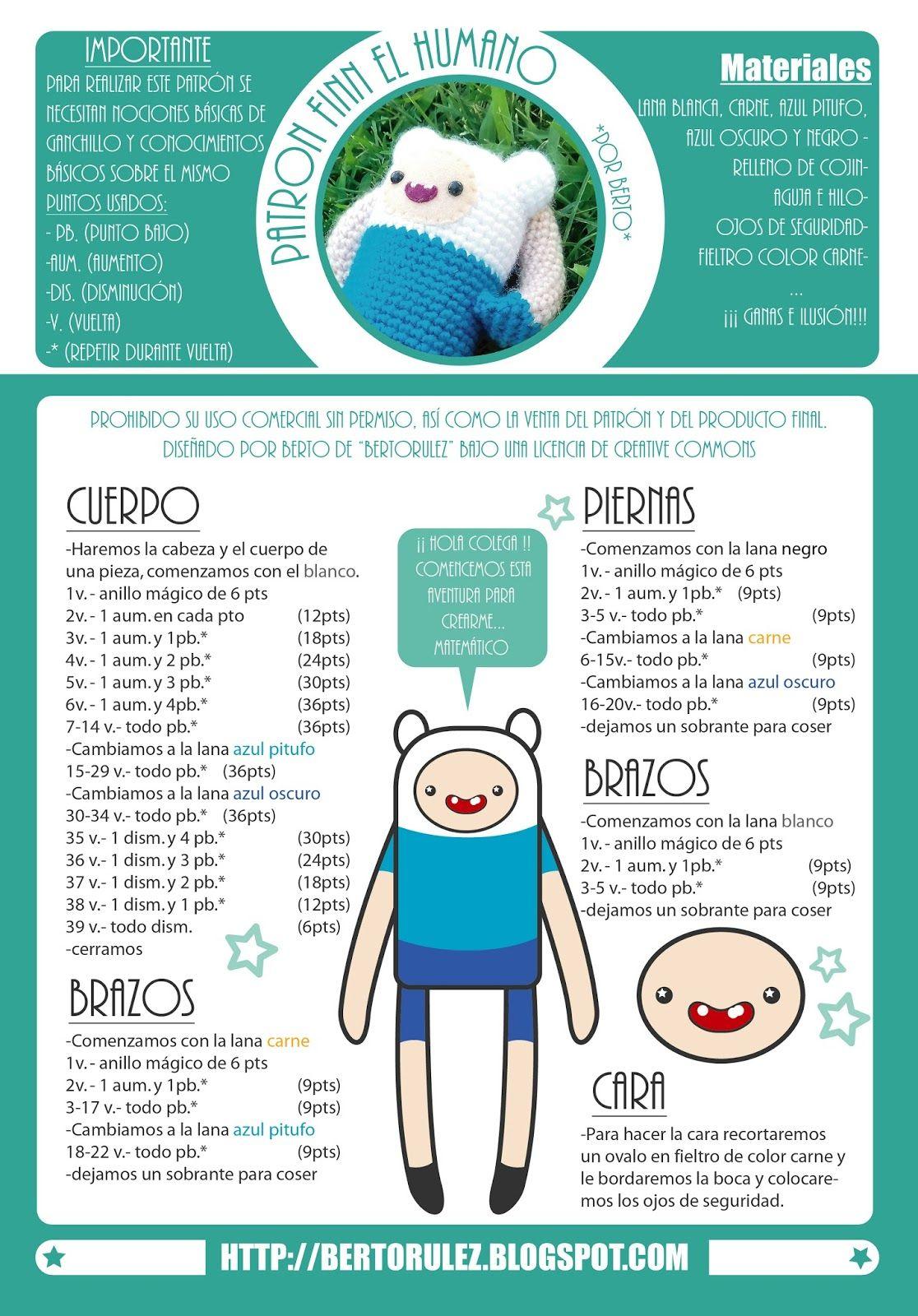 Bertorulez: Patron Finn el humano   BabyDeco   Pinterest   Amigurumi ...