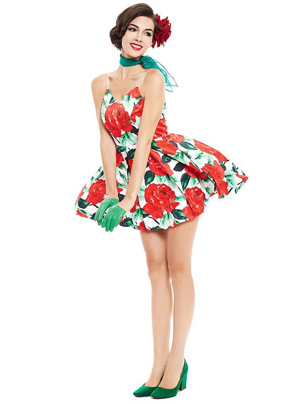 38d98e5f1a097 Sisjuly women vintage dress summer floral rose print 1950s ...