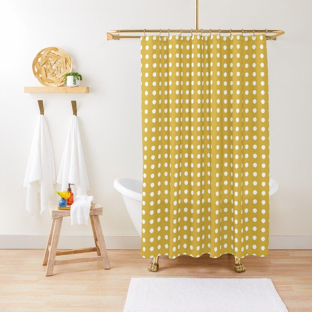Sunny Grid Irregular Painted White Dots On Golden Mustard Yellow Minimalist Geometric Dot Pattern Shower Curtain In 2020 Patterned Shower Curtain Shower Curtain White Painting