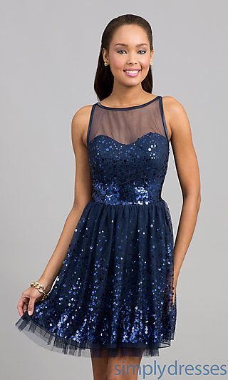 Ruby Rox Navy Sequin Short Semi Formal Dress Celebrations And