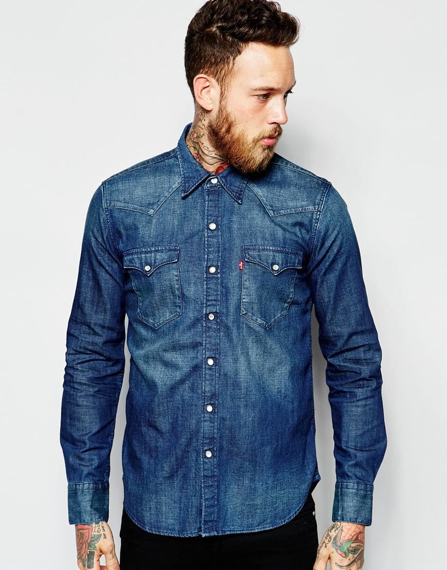 536c1a2abc Image 1 of Levi s Denim Shirt Barstow Western Slim Fit Laundered Dark Wash