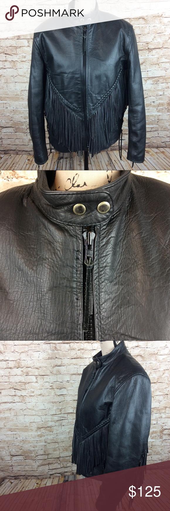 Hudson Leather Thinsulate Fringe Biker Jacket Biker Jacket Jackets Fashion [ 1740 x 580 Pixel ]