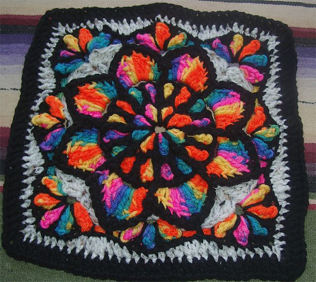Ravelry: Stain Glass Window Star Burst Afghan Square pattern by Edie Snyder