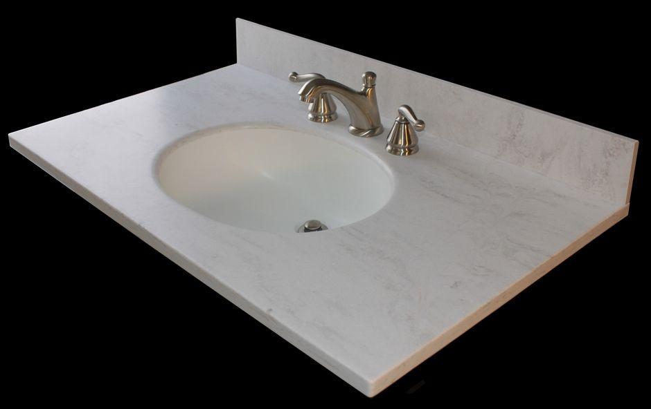 Corian rain cloud same as kitchen counters custom - Custom bathroom countertops with sink ...