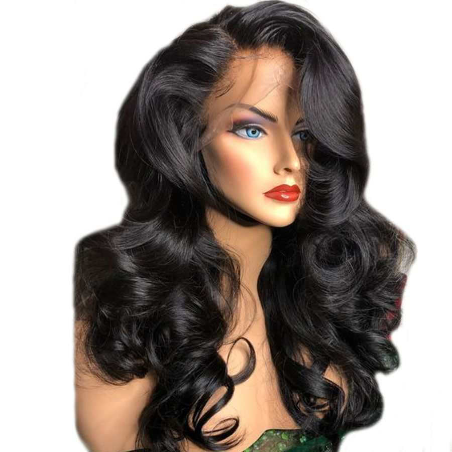 density lace front human hair wigs remy wavy wig pre plucked
