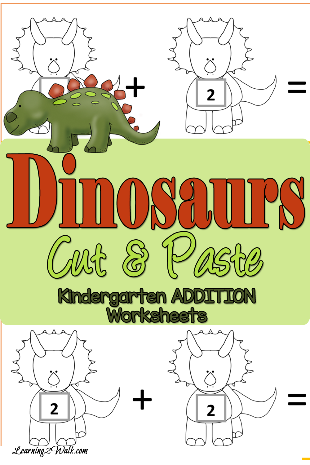 FREE Dinosaurs Cut and Paste Addition Worksheets   Pinterest ...