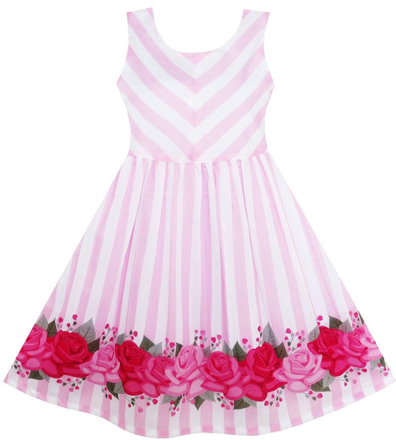 Sunny Fashion Girls Dress Striped Rose Print Tulle Pink Size 7-14 #SunnyFashion #Everyday