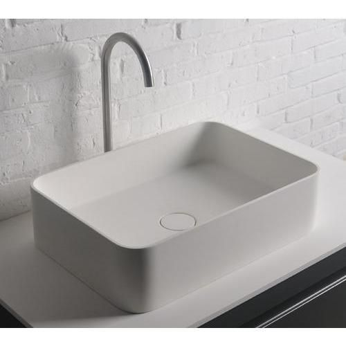 Ideavit Thin Rectangular Solid Surface Vessel Sink Bowl Above Counter Lavatory For Vanity Cabinet Created To Bring Everlasting Beauty This Stylish