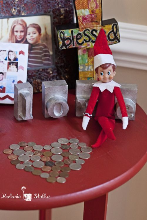 Our elf left a love note for the kids made of coins for Elf shelf craft show