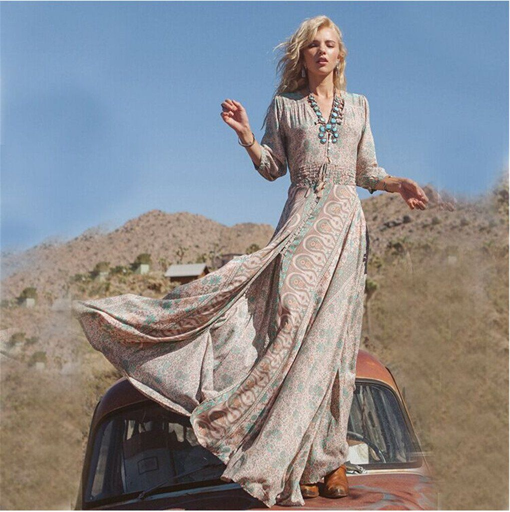 Floral long sleeves bohemian maxi dress available in plus size