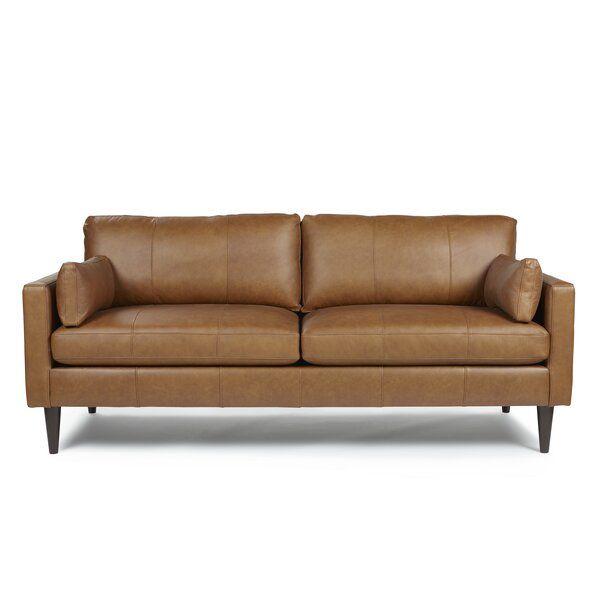 Cayenna Genuine Leather 81 Square Arm Sofa In 2020 Small Leather Sofa Wood Legs Sofa