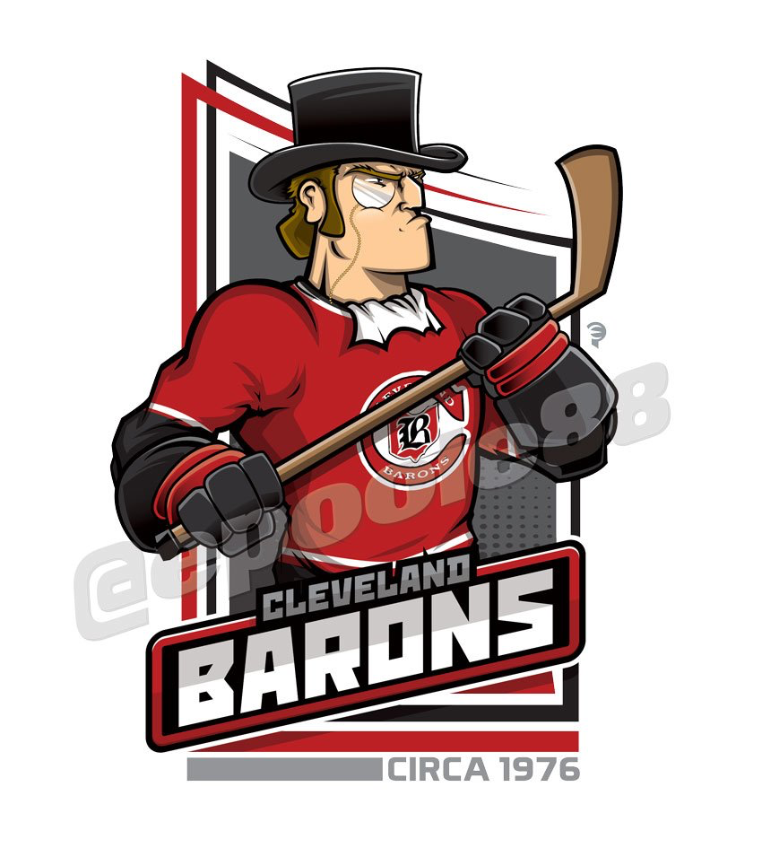 A Baron with a Top Hat & the 1976 Cleveland Barons Jersey
