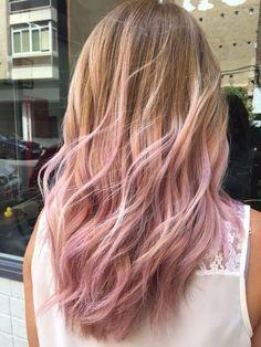 Light pink hair tips on blonde hair in 2020