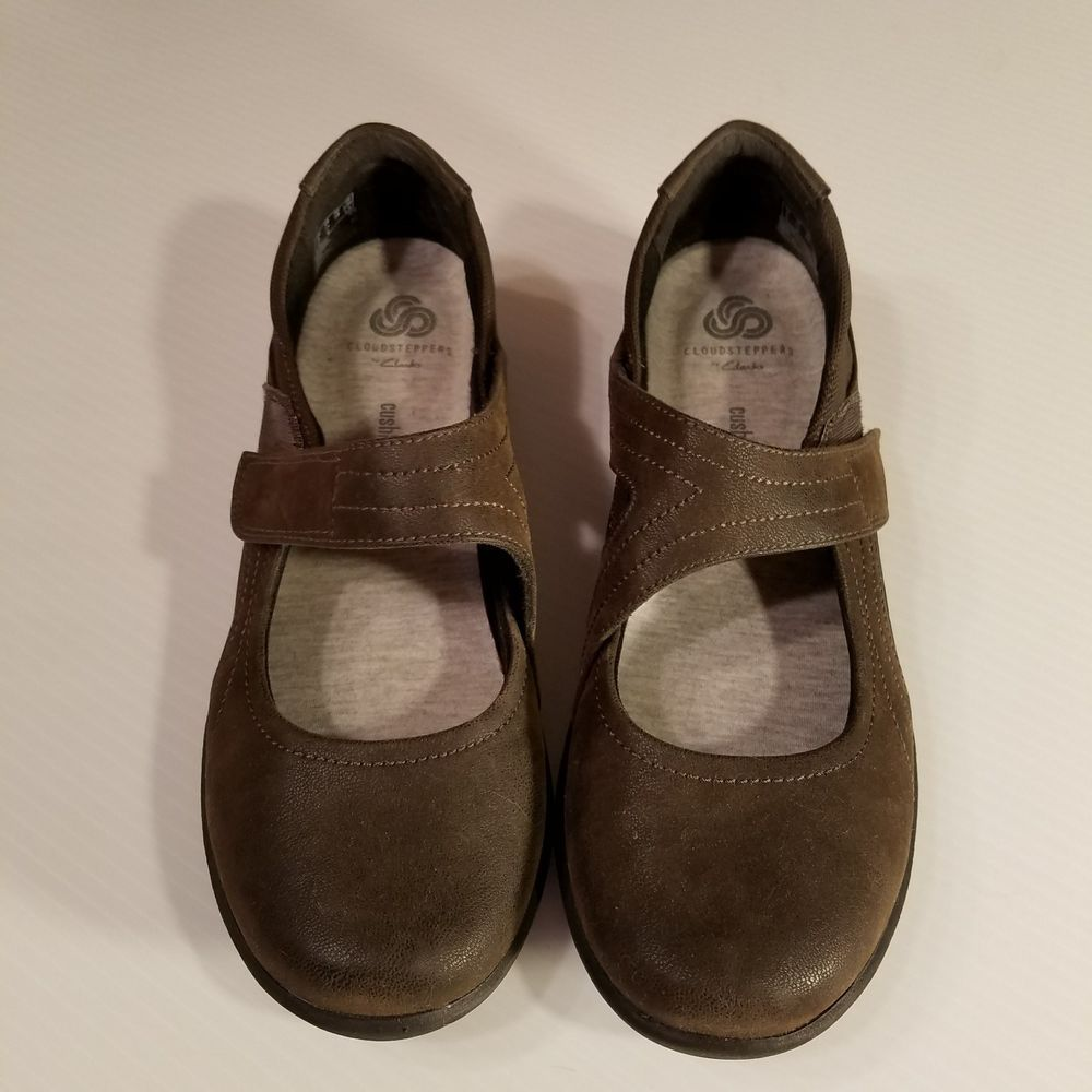 Clarks Sillian Bella Cloud Steppers Adj. Mary Janes Shoes Womens 7.5M Brown