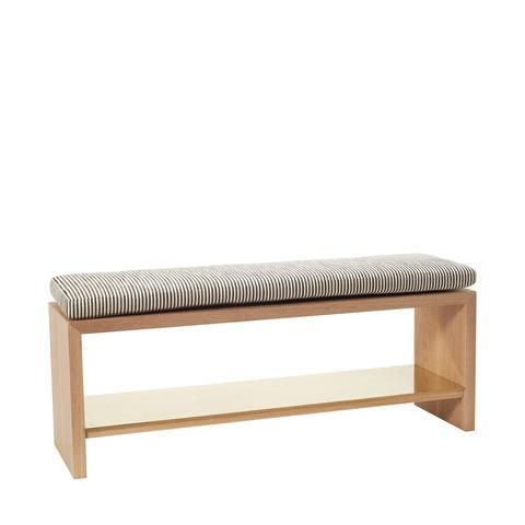 Freddie Bench With Striped Cushion And Brass Shelf By Consort