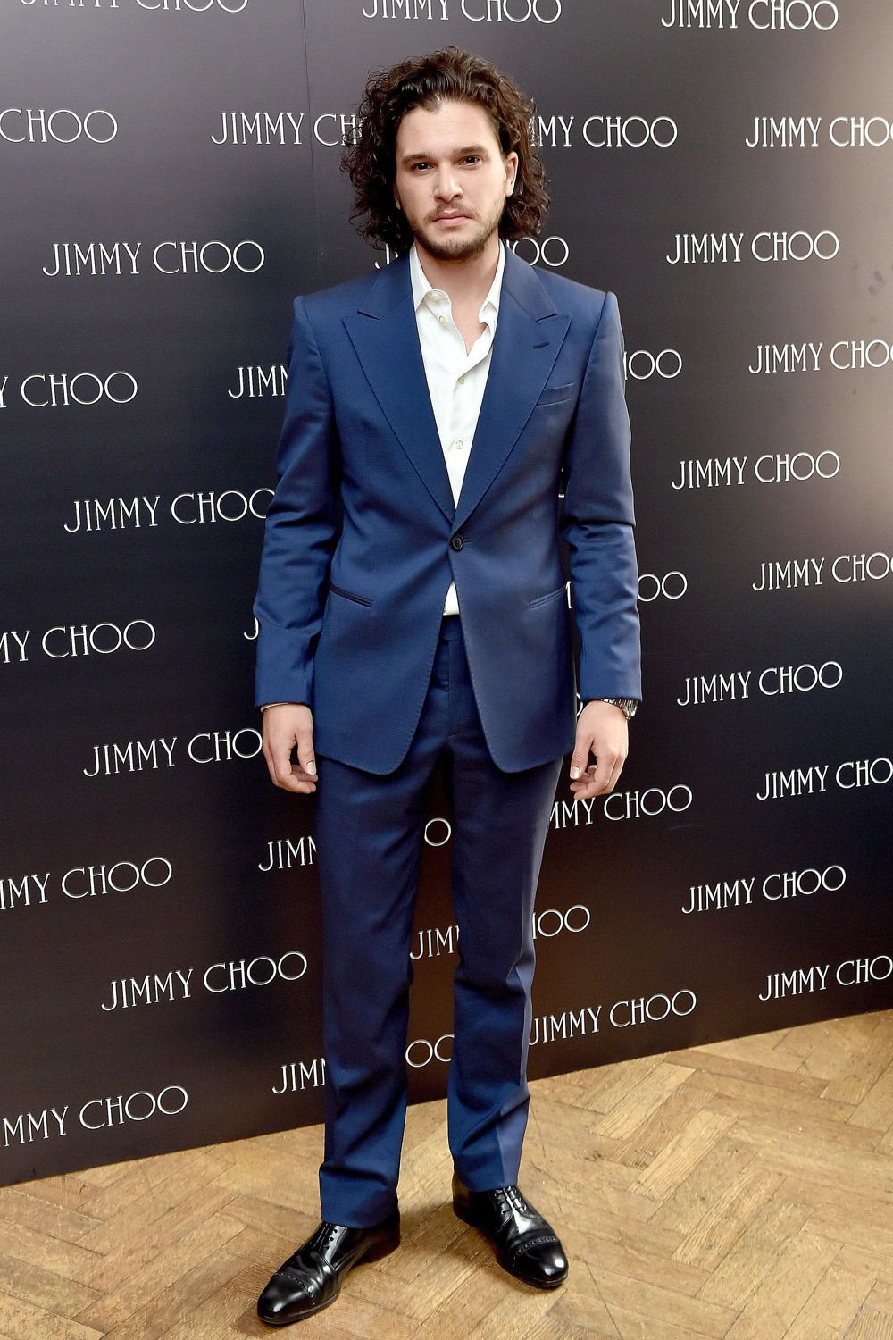 Kit harington wearing navy suit white long sleeve shirt for Jimmy choo mens shirts